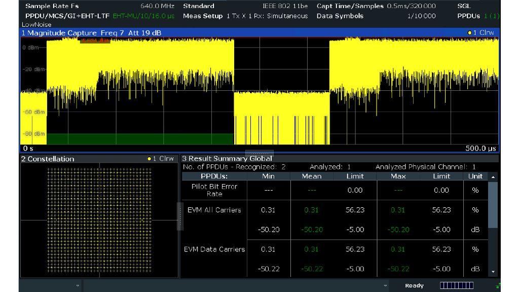 IEEE 802.11be signal analysis of a 302 MHz EHT-MU PDDU with the R&S®FSW signal and spectrum analyzer
