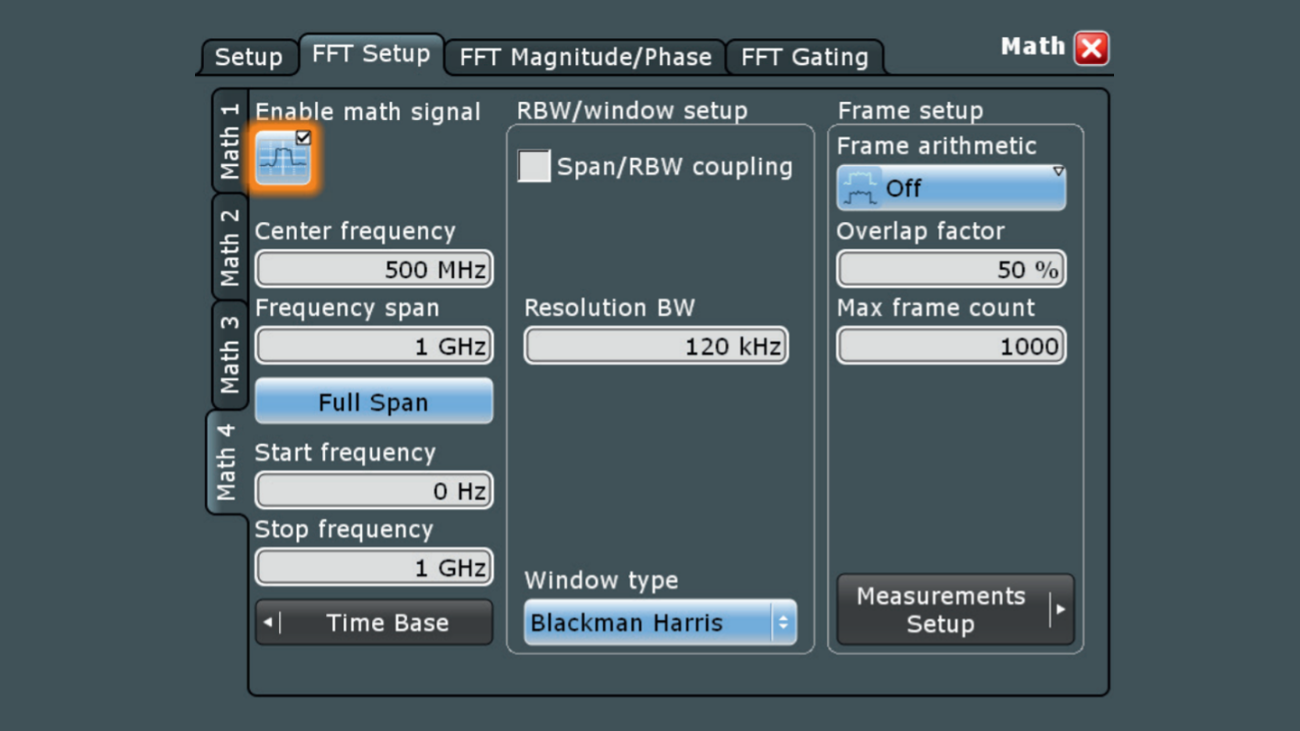 Easy navigation in frequency domain with a familiar spectrum analyzer interface.