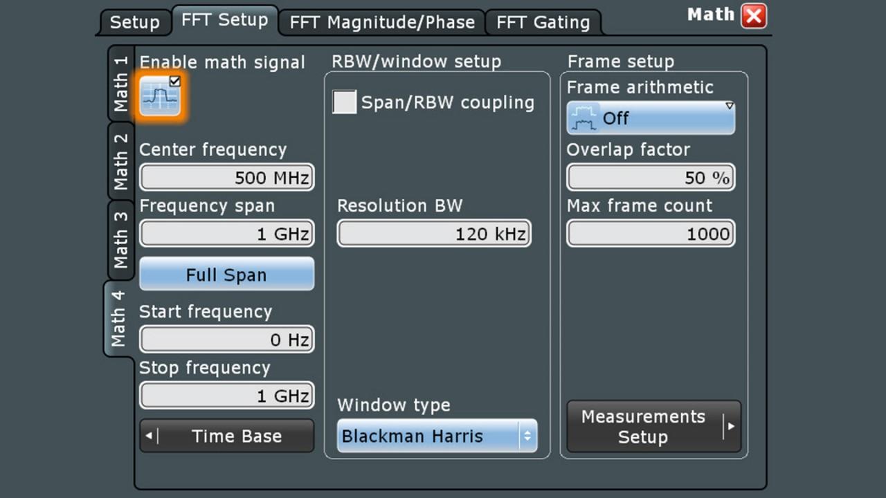 Einfache Navigation im Frequenzbereich mit der bekannten Schnittstelle eines Spektrumanalysators.