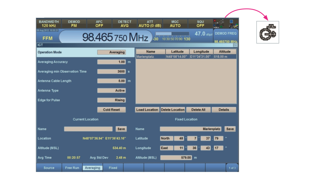 ESMD user interface with ESMD-IGT GPS module and external GPS antenna