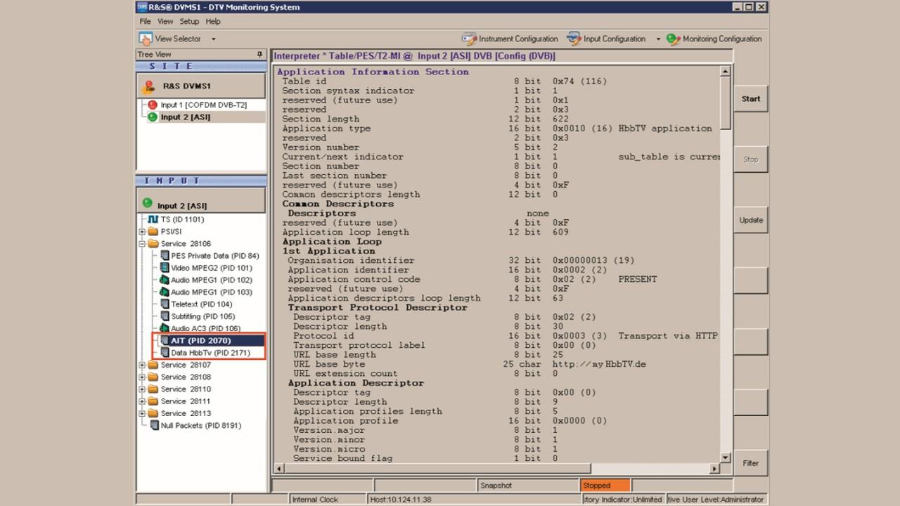 DVMS1을 이용하여 AIT(Application Information Table) 보기