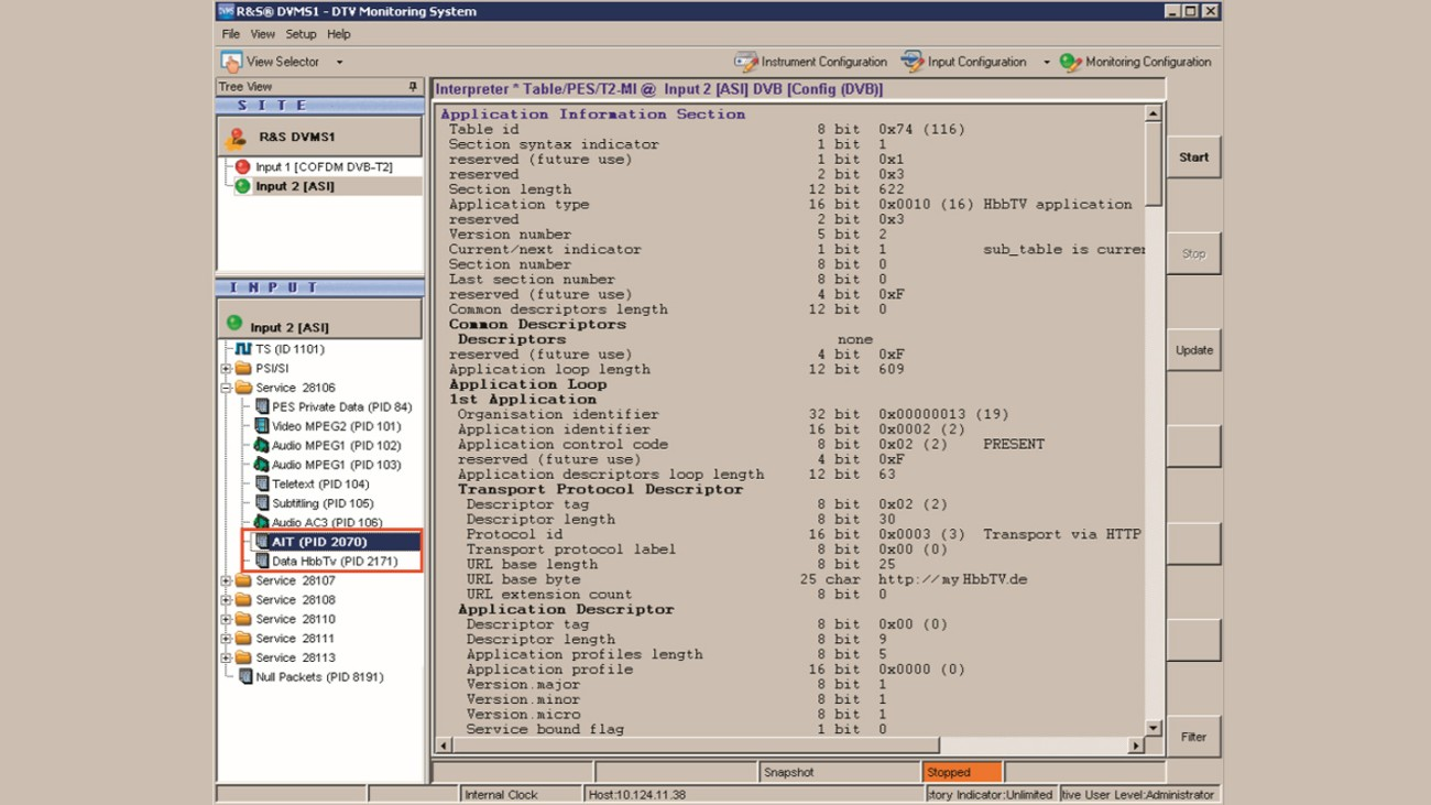 View of the application information table (AIT) using the DVMS1.