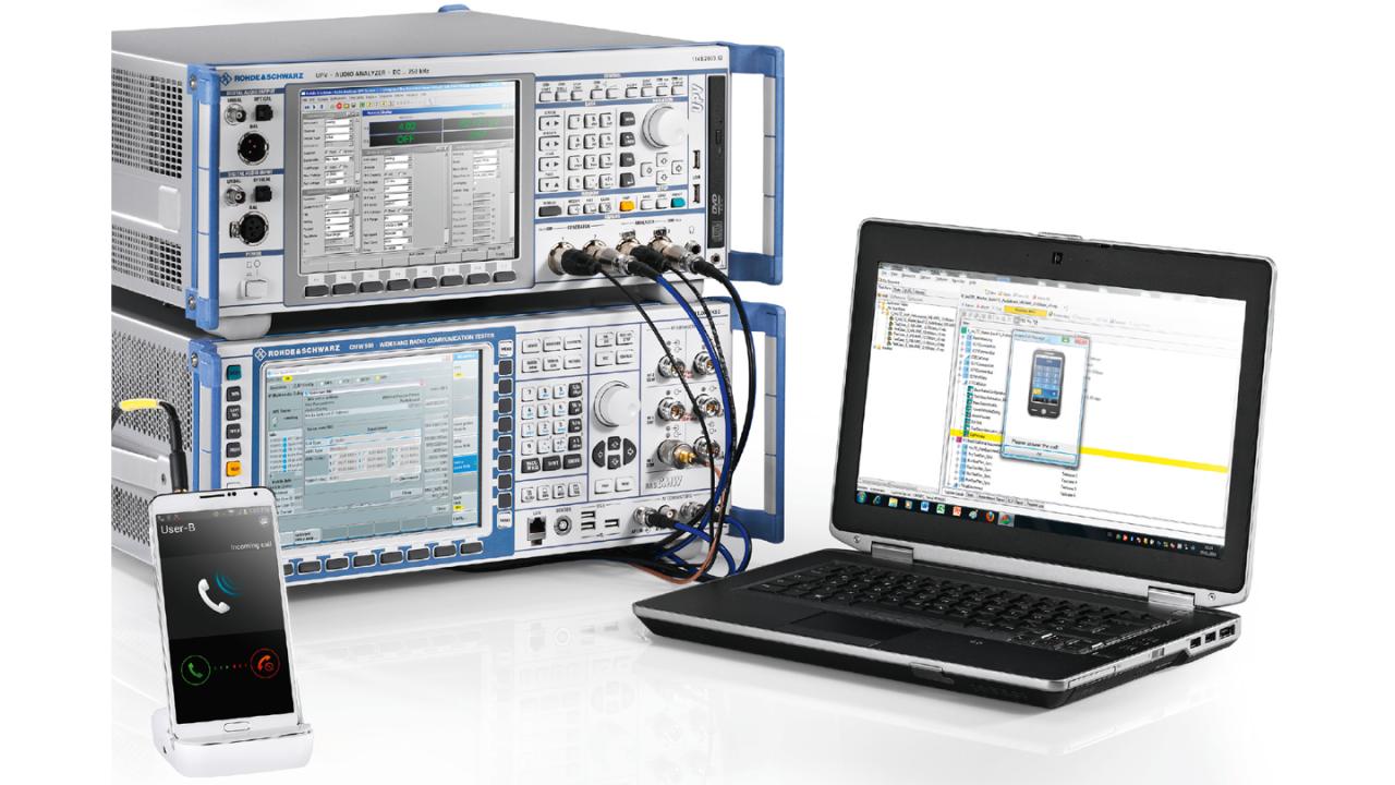 R&S®CMWrun audio performance testing solution.