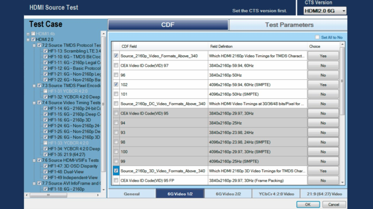 User interface for test case configuration setting; here an HDMI 2.0 6G testing example.