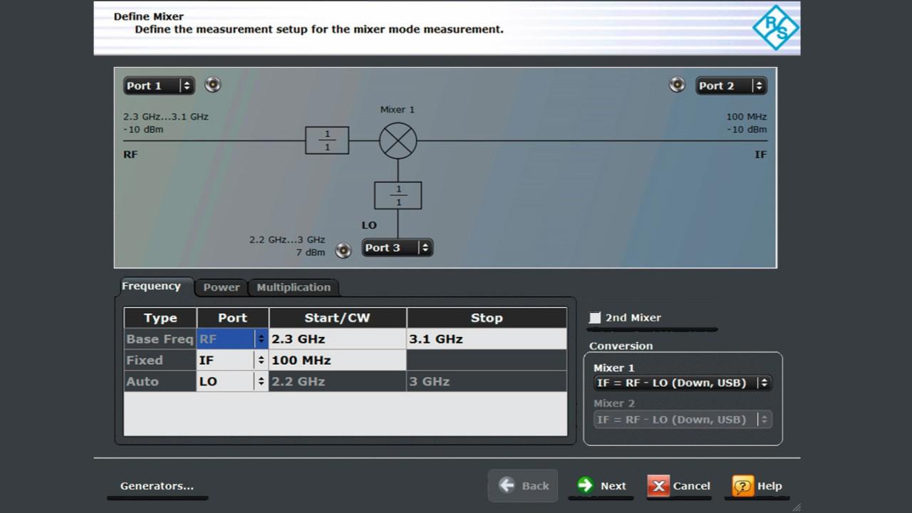 Mixer measurement wizard screen