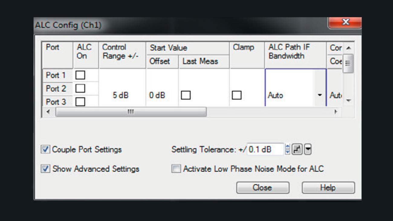 ZVA automatic level control (ALC) configuration menu