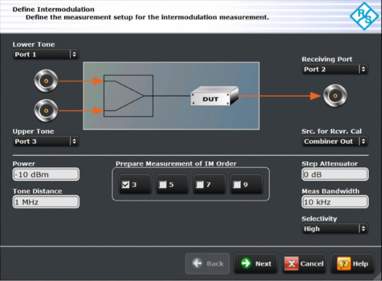L'assistant d'intermodulation est un outil intuitif qui guide les utilisateurs pas à pas lors de la configuration de l'instrument.