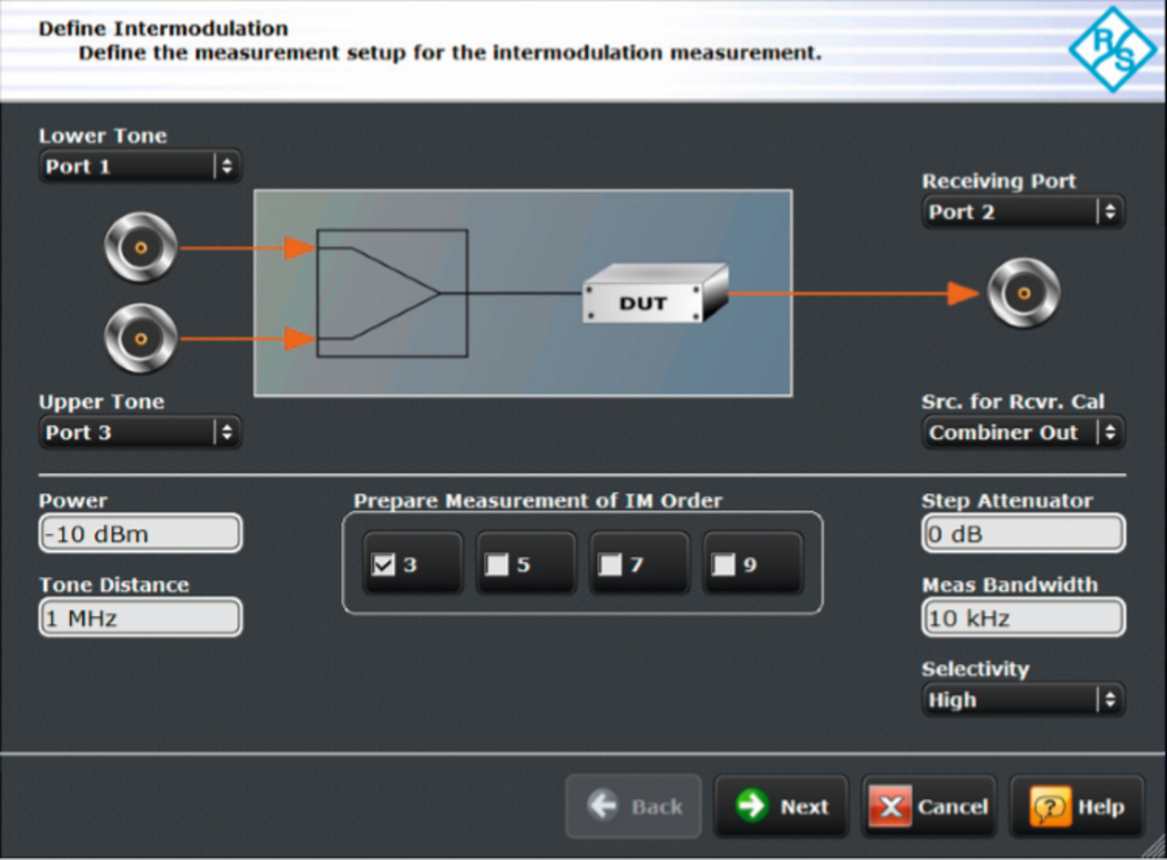 The intermodulation wizard is an intuitive tool guiding users step by step through instrument configuration.