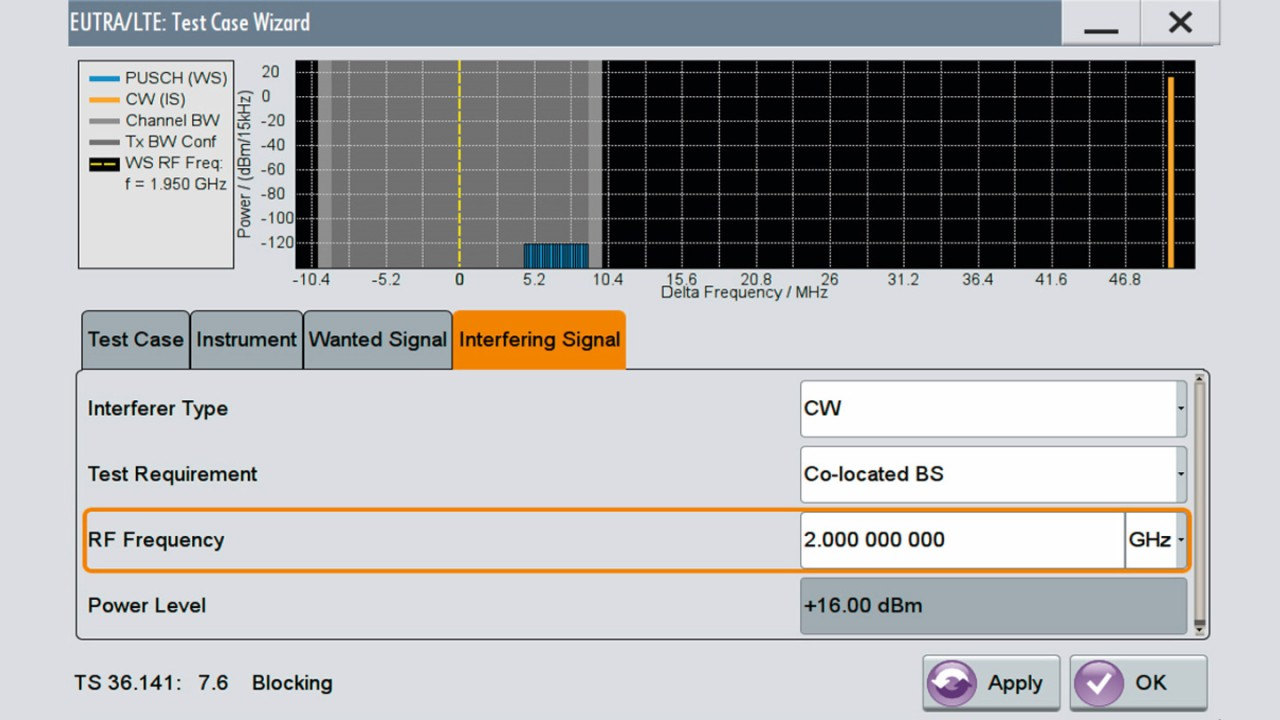 SMW200A LTE test case wizard for blocking tests.