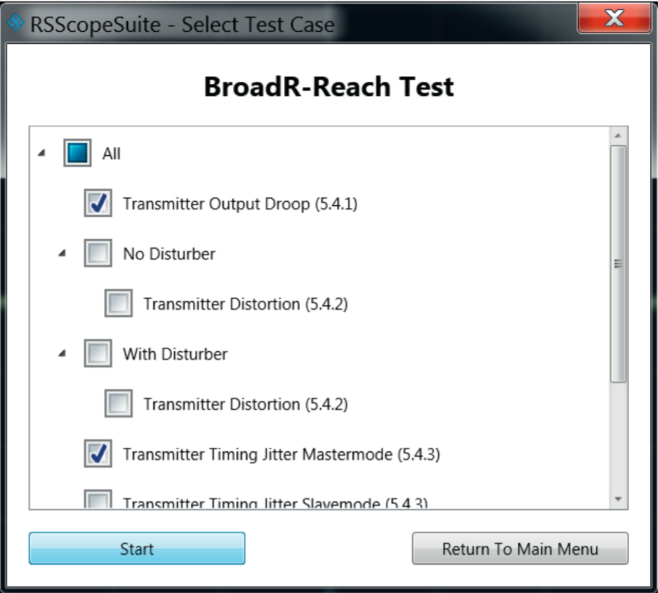 R&S®ScopeSuite test wizard: selecting test cases.