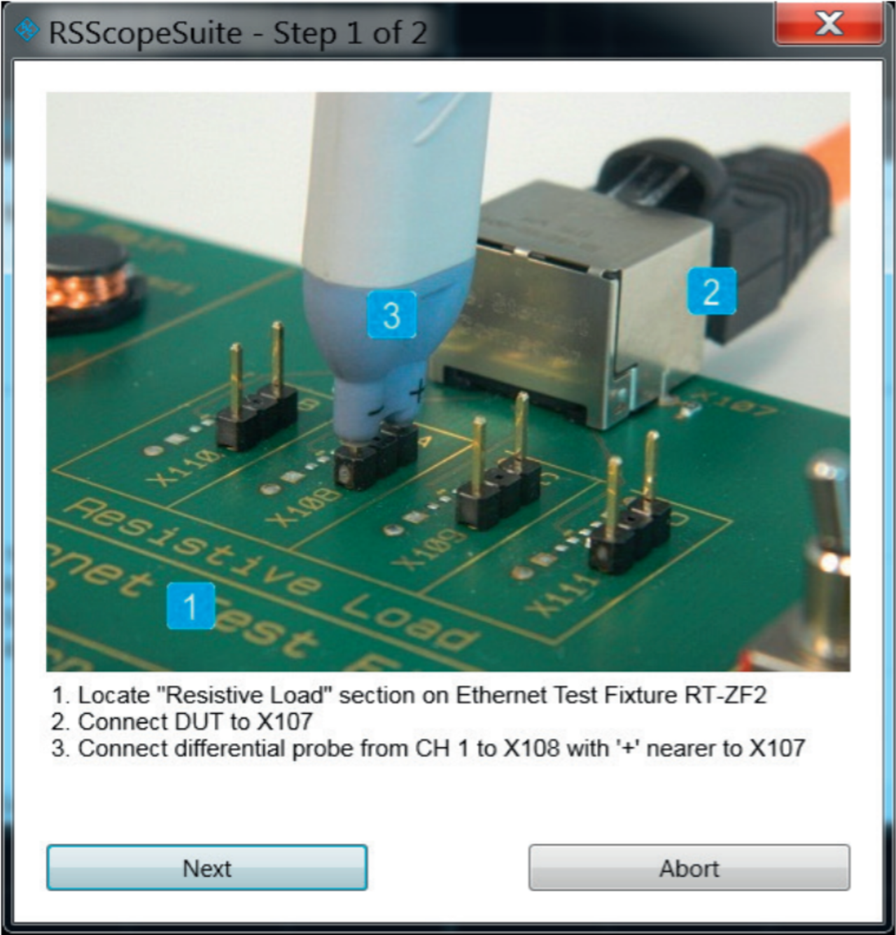 Test wizard with explanation of how to correctly connect to the test fixture.
