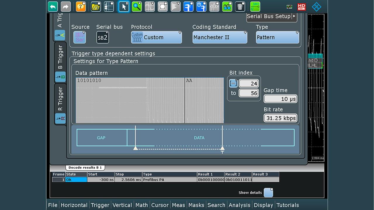 Abb.4: Dialog zur Trigger-Konfiguration mit den Funktionalitäten des Serial Pattern Trigger, um auf einen bestimmten Trigger im Datenfeld des Profibus-PA-Telegramms zu triggern.