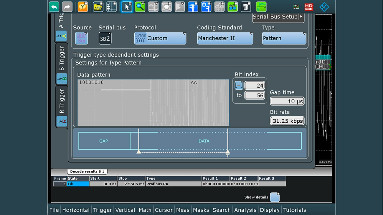 Fig. 4: Trigger setup dialog showing serial pattern trigger capability set to trigger on a specific trigger in the data field of the Profibus PA telegram.