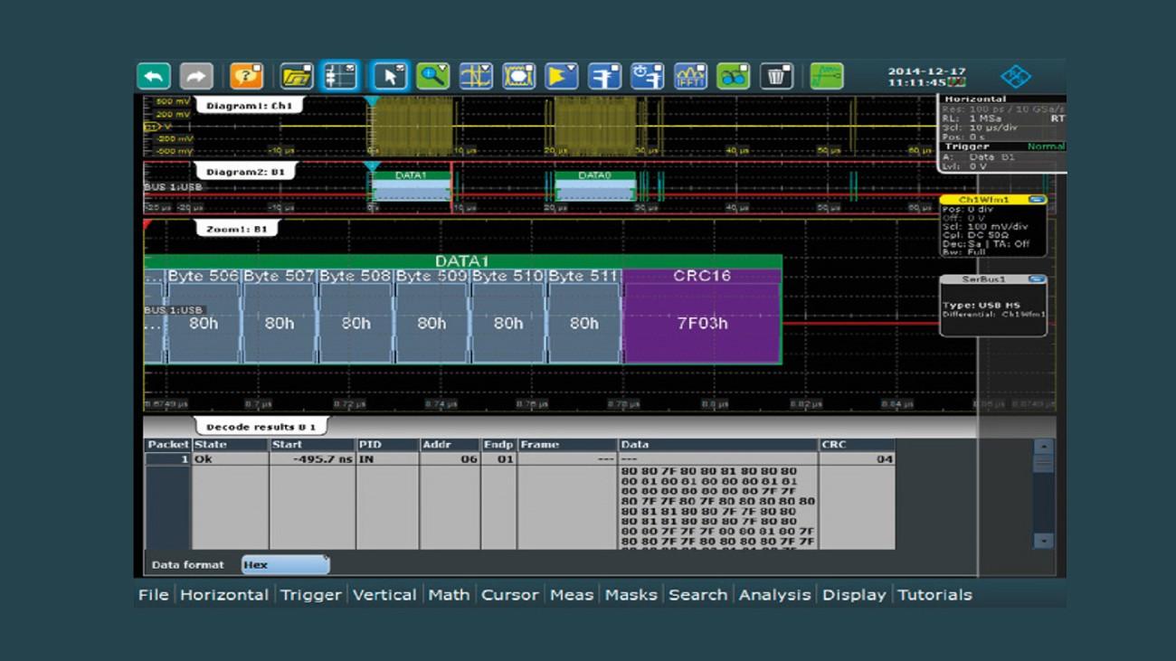 R&S®RTE/RTO-K60 USB triggering and decoding.