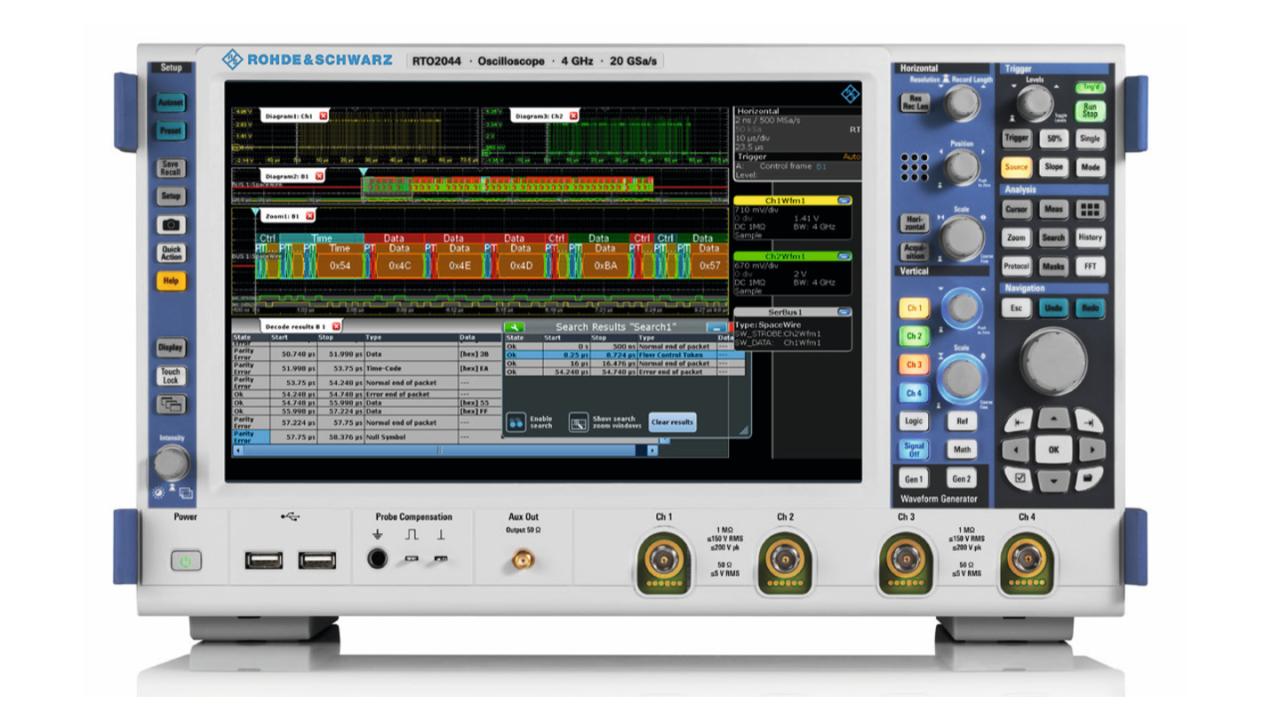 The R&S®RTO oscilloscope triggers and decodes continuous SpaceWire data streams.