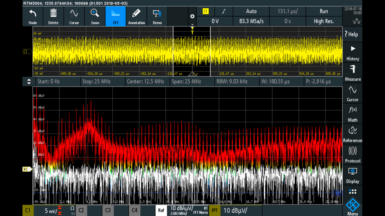 EMI spectrum without input filter