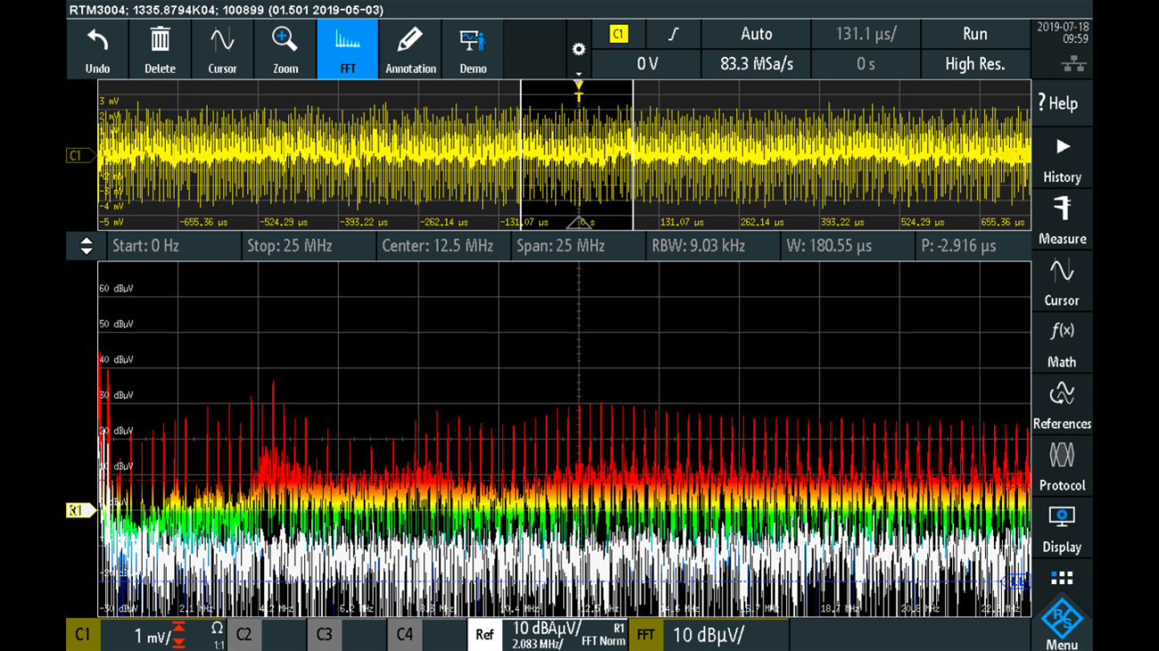 EMI spectrum with input filter