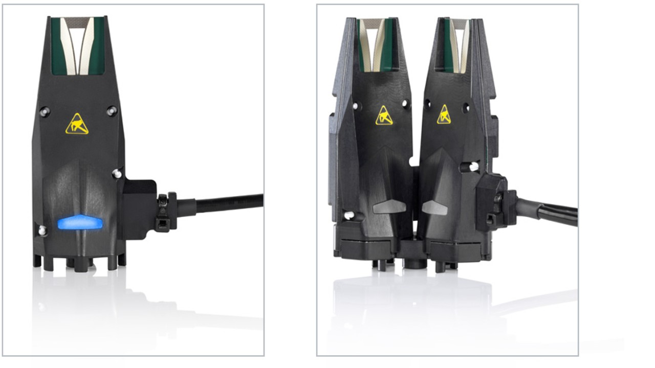 R&S®NRPM-A90 (left) and R&S®NRPM-A90D (right) antenna modules for single- and dual-polarized measurements