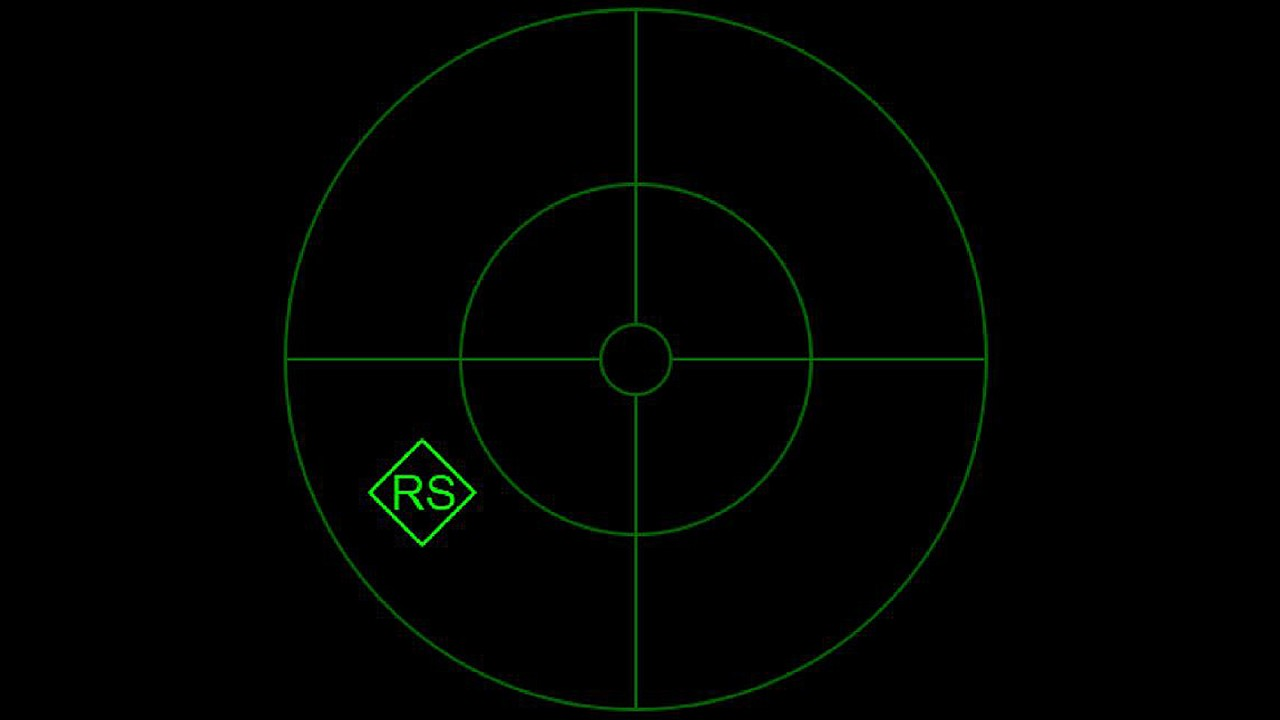 Fig. 5: RWR indication in aircraft at position 4. RWR threat display showing the detected emitter at the 8 o'clock position for the aircraft. The number indicates the type of emitter while the diamond marks it as the primary threat.