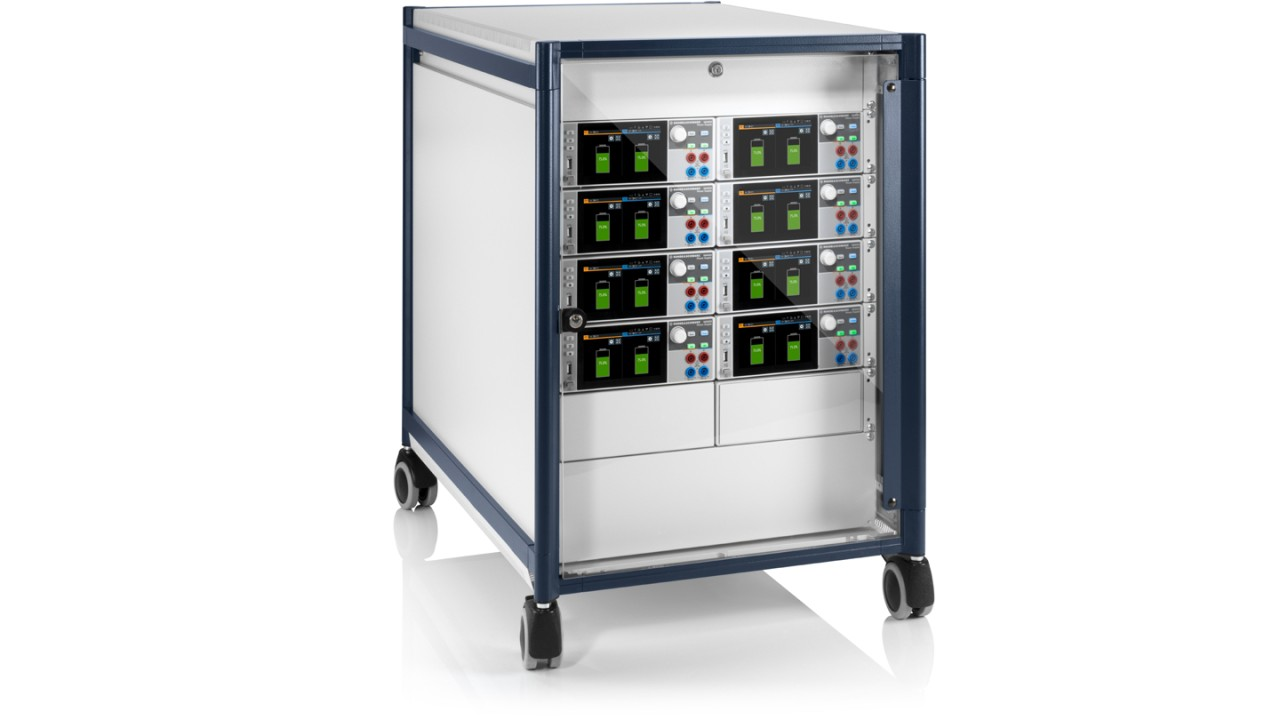 Arrangement with eight R&S®NGM202 two-channel power supplies for simulation of up to sixteen battery cells as used in a 48 V system
