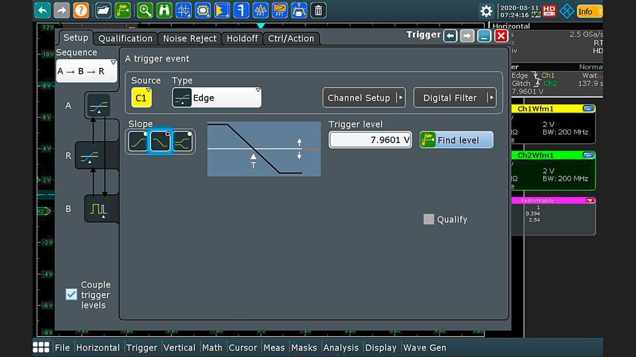Trigger setup: edge event on negative slope for trigger A