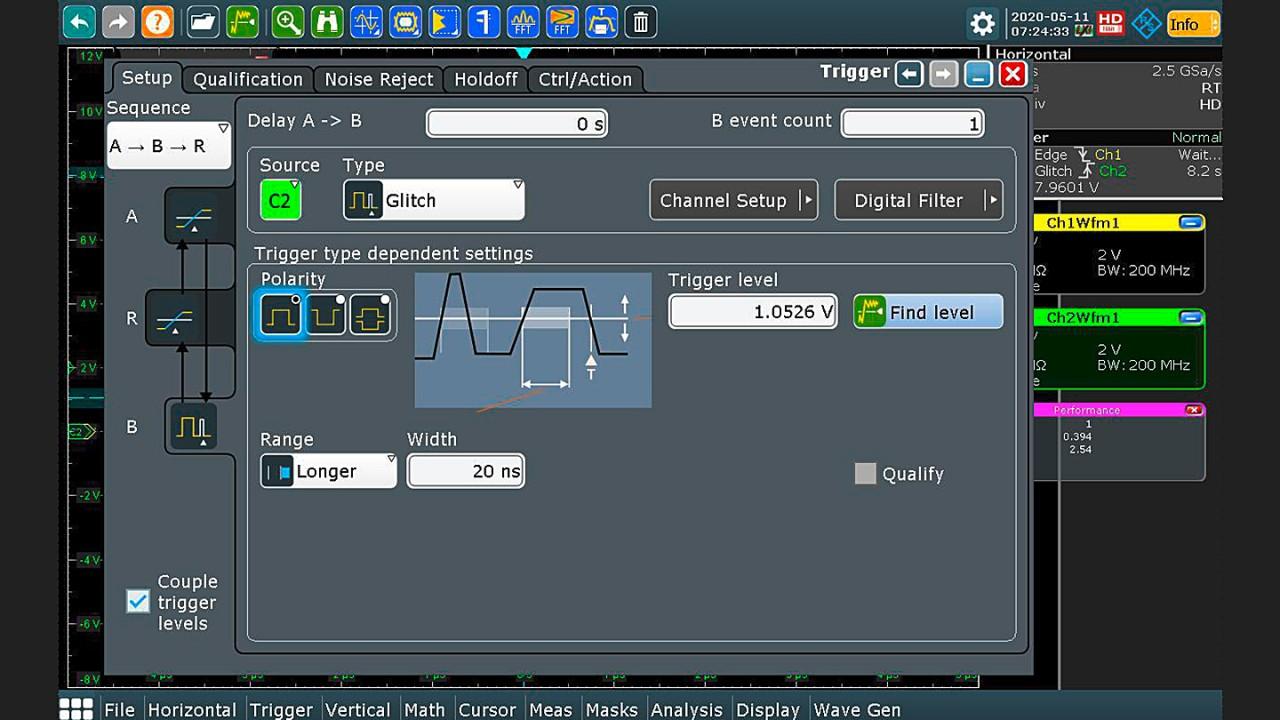 Trigger setup: glitch event for trigger B