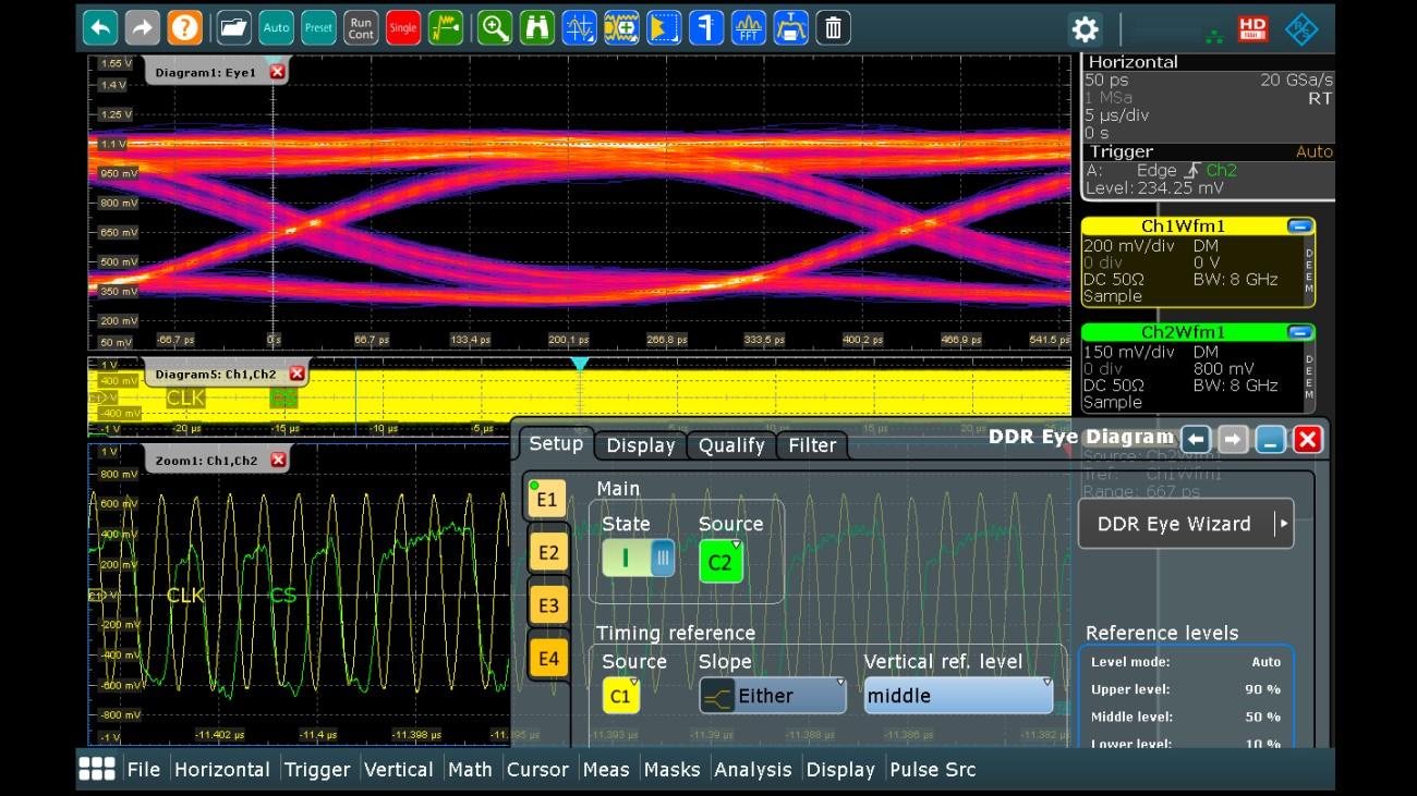 R&S®RTP-K93: DDR4 eye diagram of chip select signal (CS)