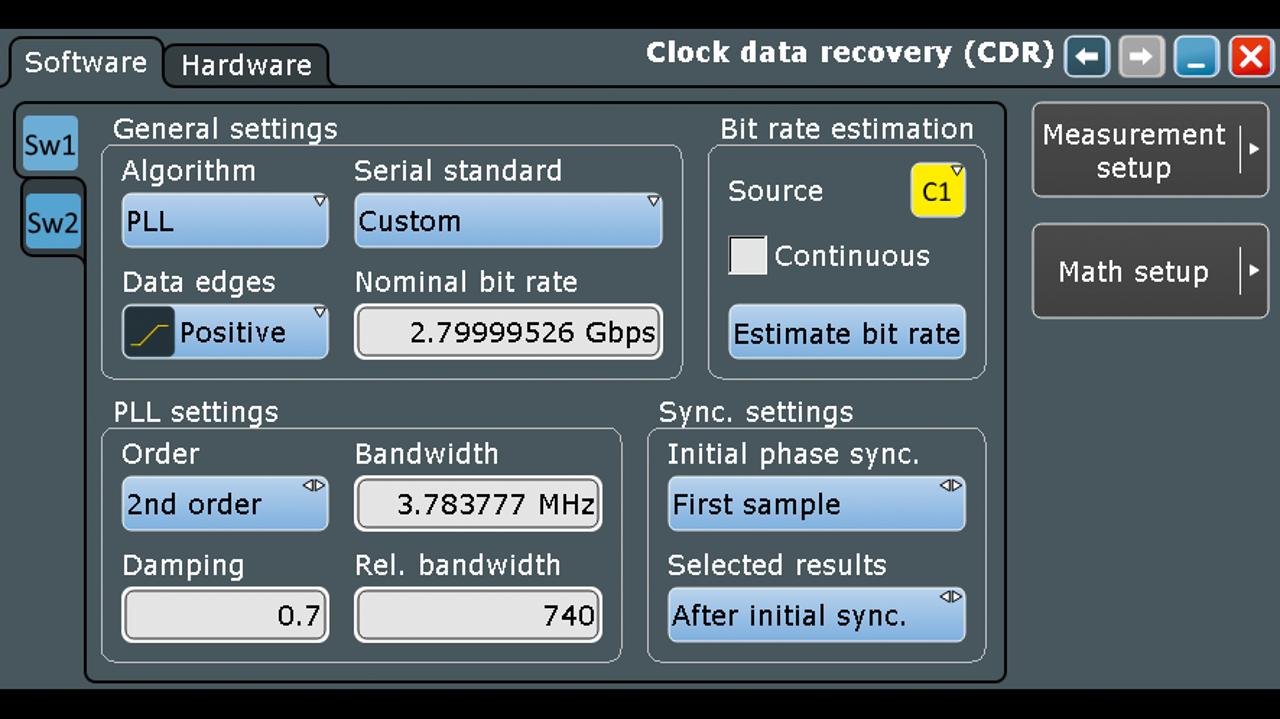 Configuración de CDR para demodular el chirp de RF