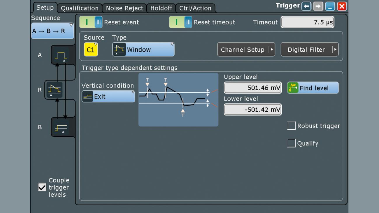 Настройка сигнала запуска R для сброса условия запуска