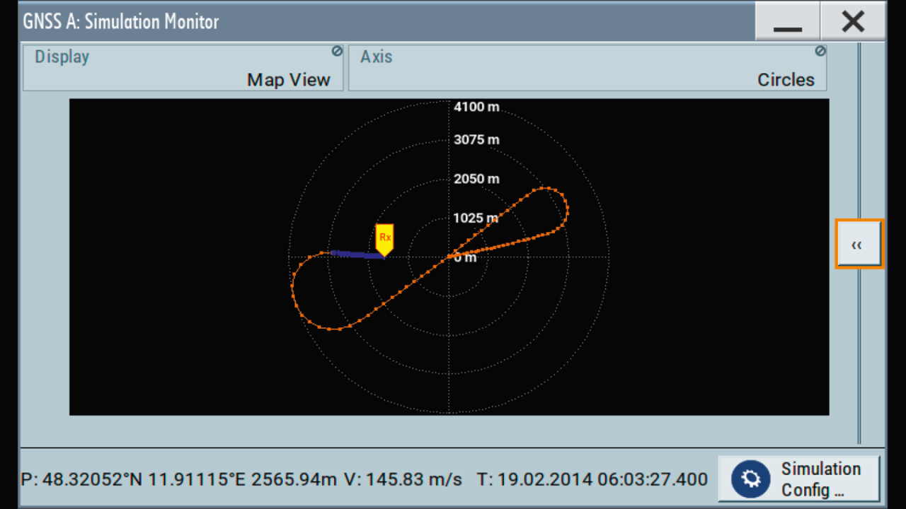GNSS simulator GUI: realtime trajectory visualization.