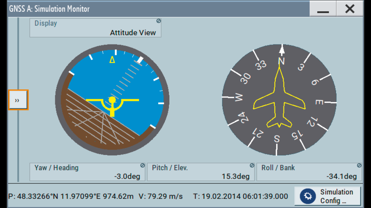 GNSS simulator GUI: instantaneous attitude indication.