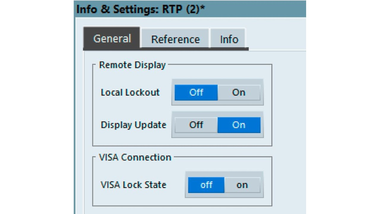 Under Info & Settings in the R&S®VSE instrument window, make sure Display Update is on.