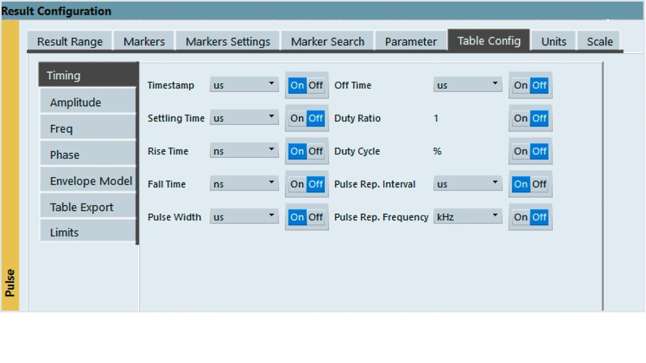 Click the Pulse Results table and configure it under the Table Config tab.