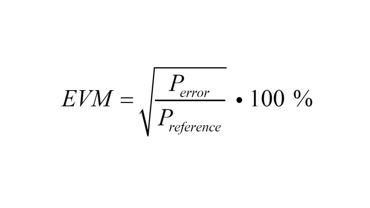 La ecuación muestra claramente la EVM como la raíz cuadrada de la potencia de error respecto a una potencia de referencia.