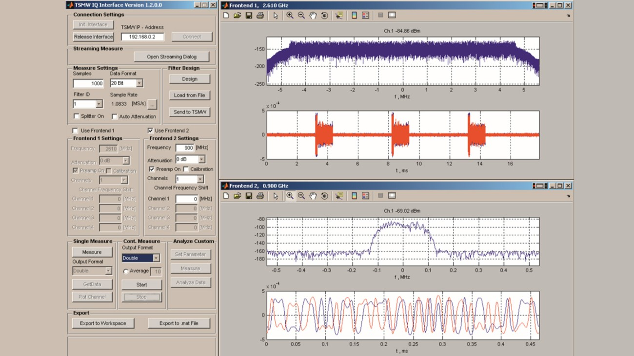 MATLAB® example application with WiMAX™ and GSM measurements