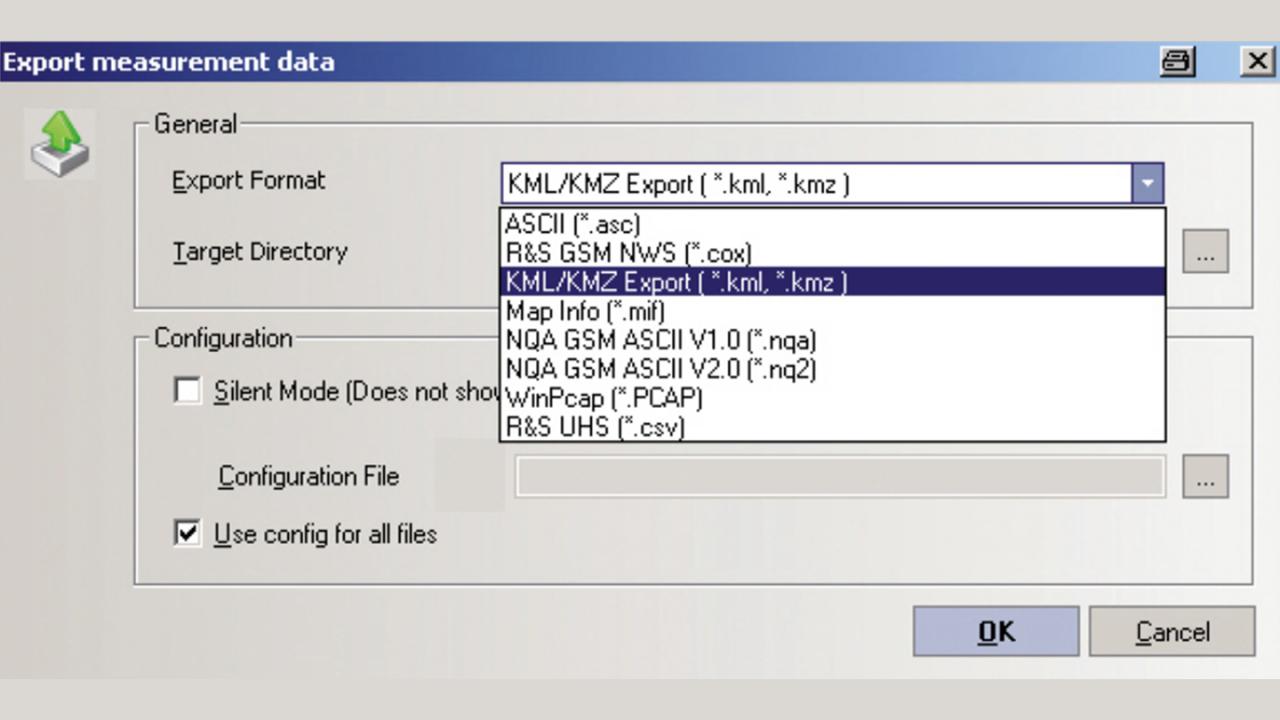 R&S®ROMES export 대화상자를 이용하여 간편하게 처리되는 데이터 내보내기