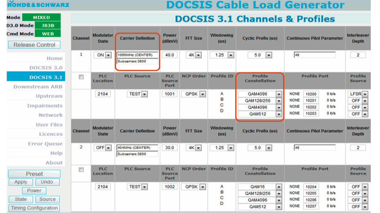 R&S®CLGD GUI for setting up DOCSIS 3.1 channels.