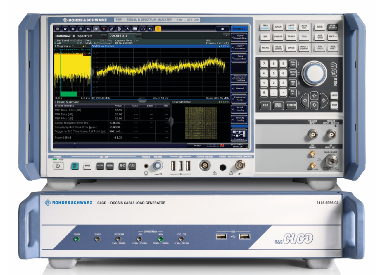 The R&S®FSW signal and spectrum analyzer with the R&S®CLGD DOCSIS cable load generator.