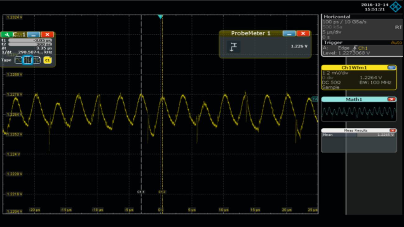 Medidas de rizado residual en una fuente de alimentación de 1,2 V de DDR4