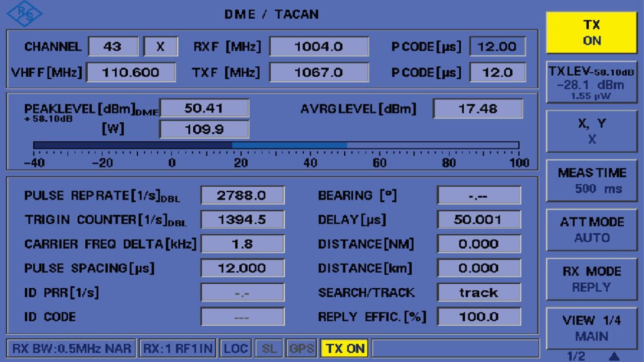 Главное окно DME/TACAN в EDST300