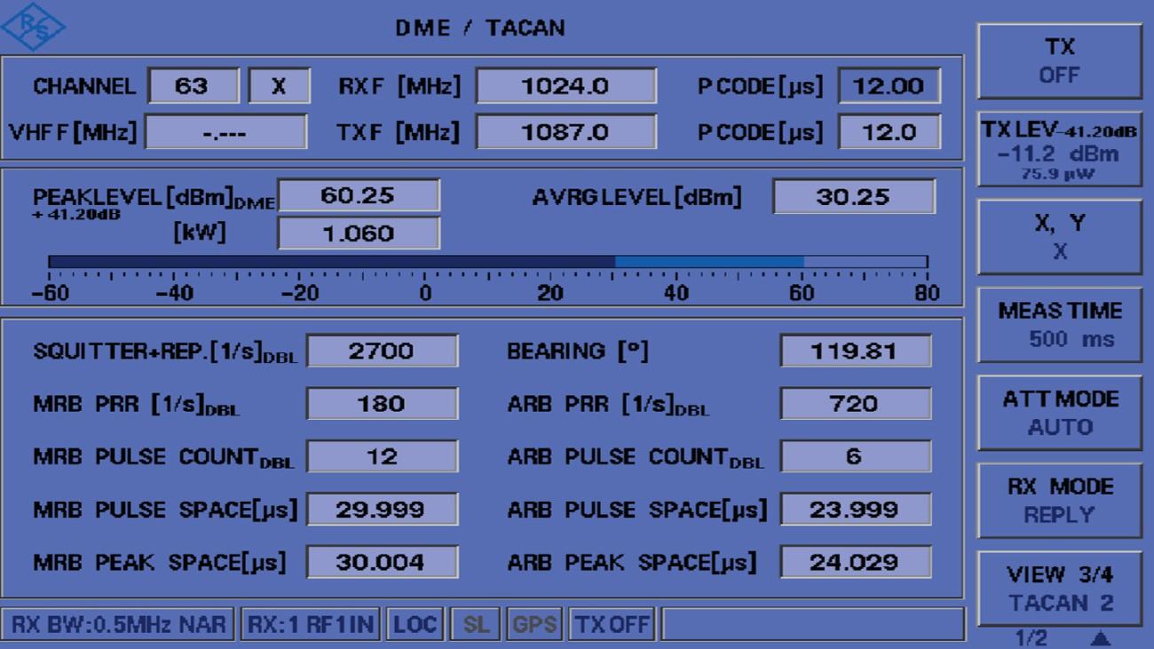 Измерения TACAN с помощью EDST300