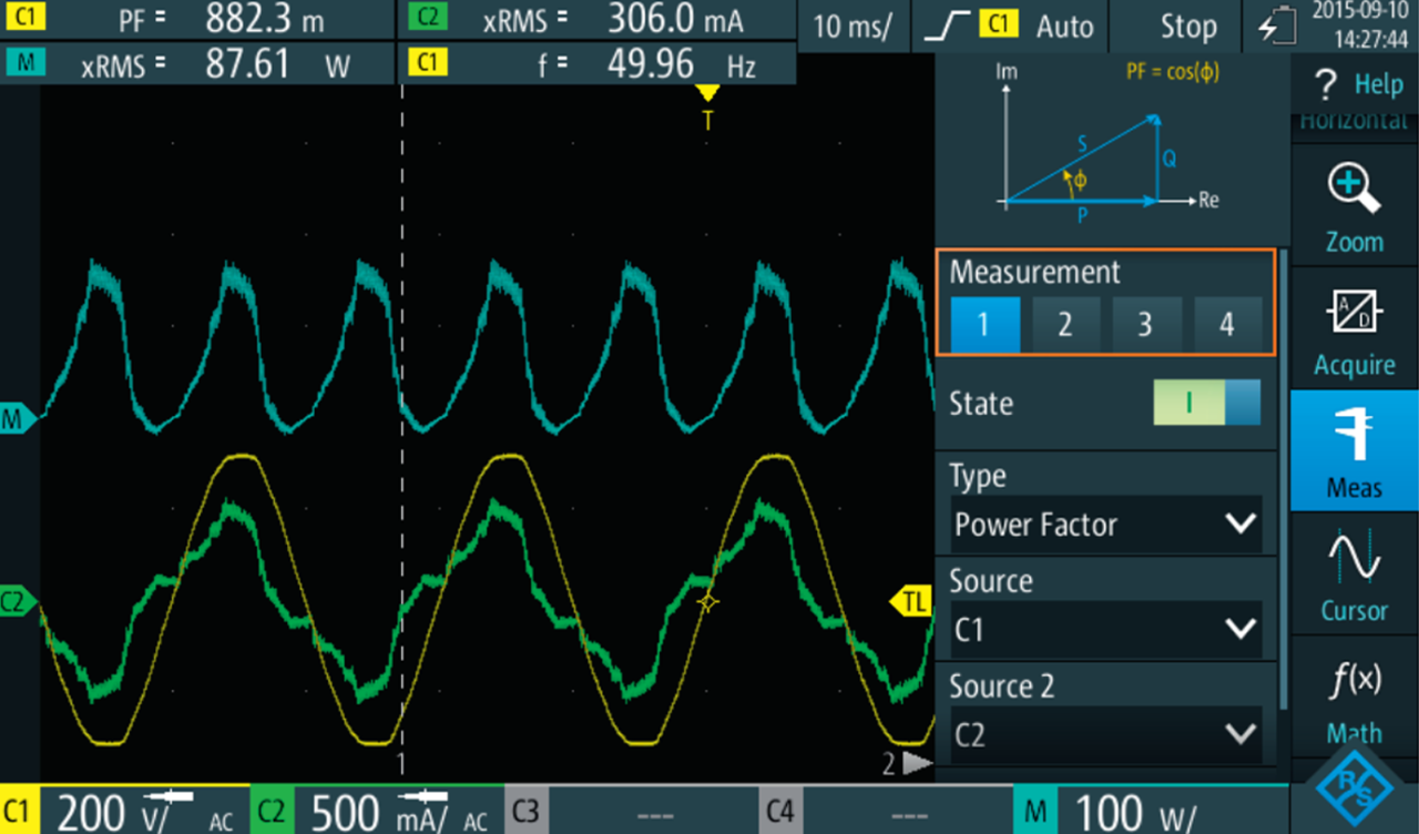 Power factor measurement of an electronic load with automatic measurement functions.