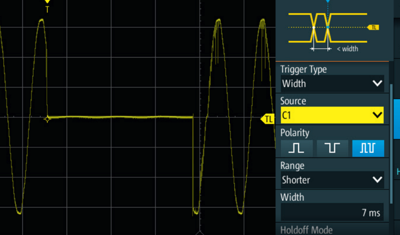 Dedicated trigger functions, for example the width trigger, allow to isolate unwanted events like supply voltage dips.