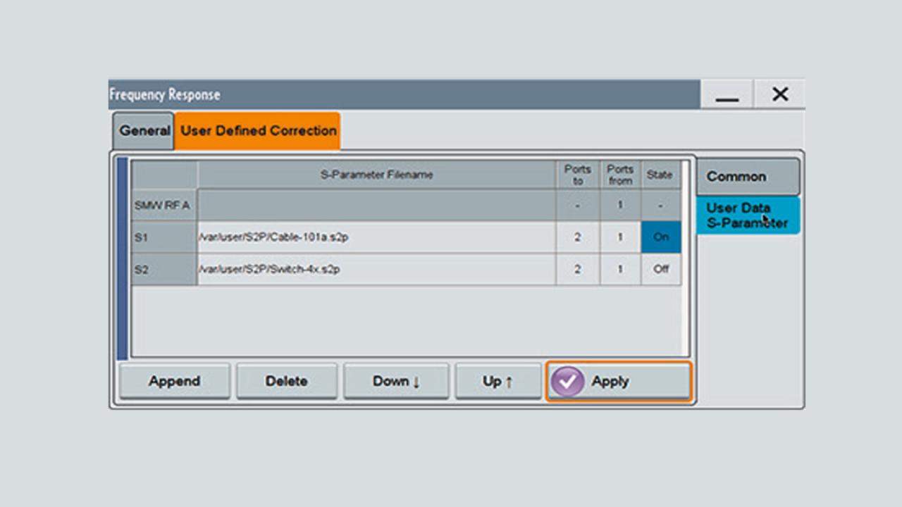 R&S®SMW-K544 – импорт файла s2p.