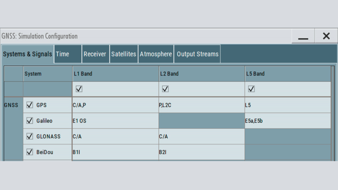 GNSS simulation configuration