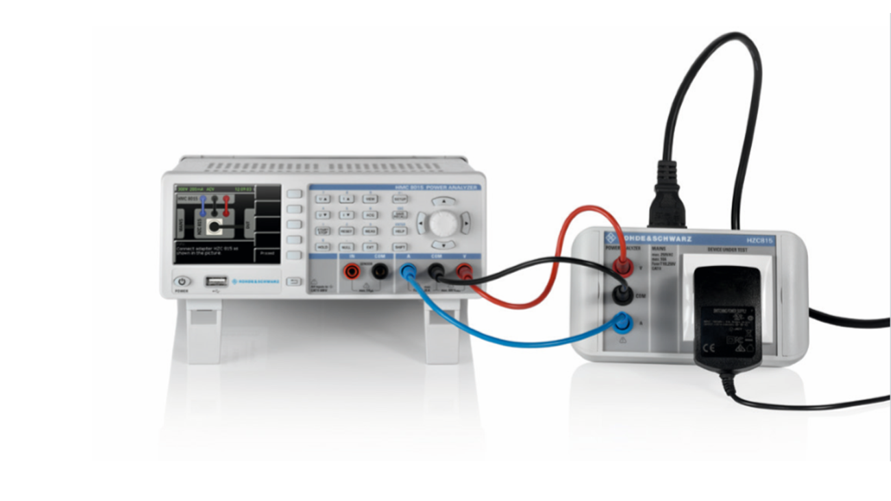 Typical test setup with the R&S®HMC8015 power analyzer and the R&S®HZC815 socket adapter