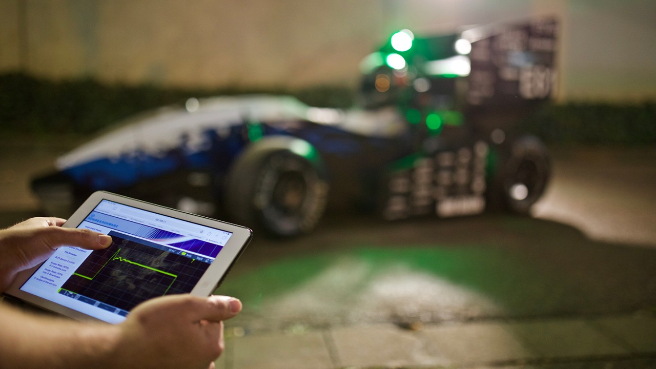 Oscilloscopes are also at home in unusual situations, such as testing the electronics of a race car.