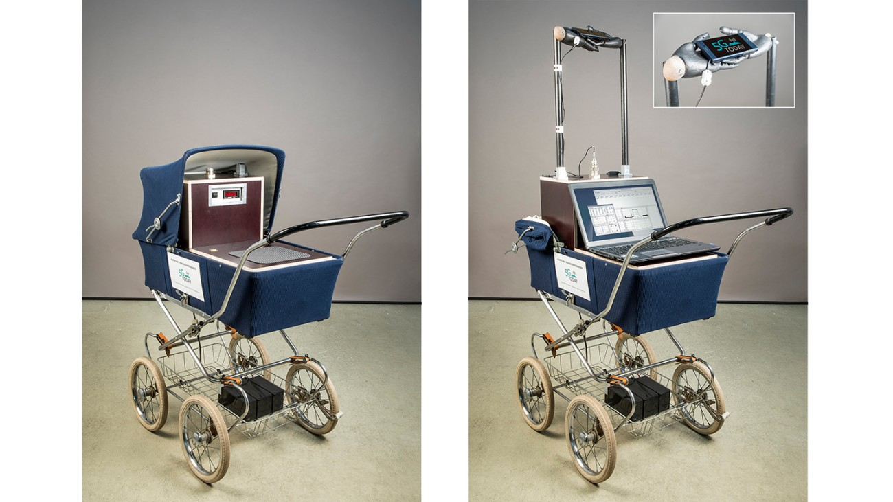 The mobile measuring system, has been built into a baby buggy for transport in public areas.