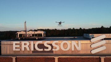 Rohde & Schwarz test equipment mounted on a drone for 5G network tests