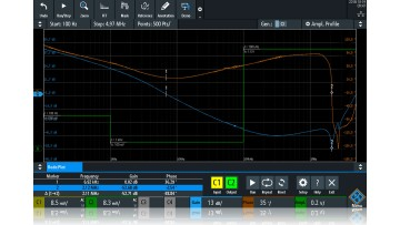 Equipped with the R&S RTx-K36 option, the oscilloscopes can display Bode plots.